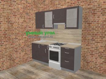 Прямая кухня МДФ глянец в стиле лофт 5,0 м², 200 см (зеркальный проект), Шоколад, верхние модули 72 см, отдельно стоящая плита