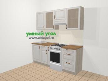 Прямая кухня МДФ патина в классическом стиле 5,0 м², 200 см (зеркальный проект), Лиственница белая, верхние модули 72 см, отдельно стоящая плита