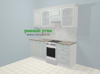 Прямая кухня МДФ патина в стиле прованс 5,0 м², 200 см (зеркальный проект), Лиственница белая, верхние модули 72 см, отдельно стоящая плита