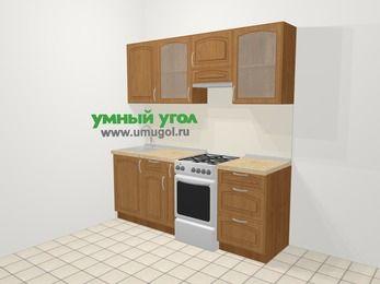 Прямая кухня МДФ патина в классическом стиле 5,0 м², 200 см (зеркальный проект), Ольха, верхние модули 72 см, отдельно стоящая плита