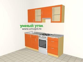 Прямая кухня МДФ металлик 5,0 м², 2000 мм (зеркальный проект), Оранжевый металлик, верхние модули 720 мм, отдельно стоящая плита