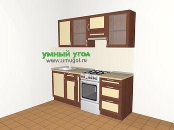 Прямая кухня из рамочного МДФ 5,0 м², 2000 мм (зеркальный проект), Вишня темная / Крем, верхние модули 720 мм, отдельно стоящая плита