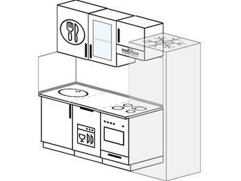 Планировка прямой кухни 5,0 м², 200 см (зеркальный проект): верхние модули 72 см, посудомоечная машина, встроенный духовой шкаф, холодильник
