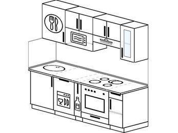 Прямая кухня 5,0 м² (2,0 м), верхние модули 720 мм, посудомоечная машина, модуль под свч, встроенный духовой шкаф