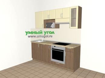 Прямая кухня МДФ матовый 5,0 м², 2000 мм (зеркальный проект), Ваниль / Лиственница бронзовая, верхние модули 720 мм, посудомоечная машина, модуль под свч, встроенный духовой шкаф