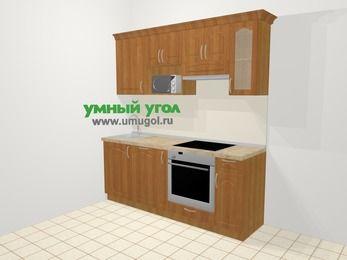 Прямая кухня МДФ матовый в классическом стиле 5,0 м², 200 см (зеркальный проект), Вишня, верхние модули 72 см, посудомоечная машина, модуль под свч, встроенный духовой шкаф