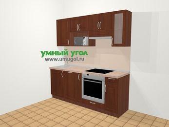 Прямая кухня МДФ матовый в классическом стиле 5,0 м², 200 см (зеркальный проект), Вишня темная, верхние модули 72 см, посудомоечная машина, модуль под свч, встроенный духовой шкаф