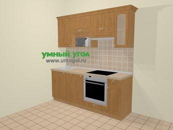 Прямая кухня МДФ матовый в стиле кантри 5,0 м², 200 см (зеркальный проект), Ольха, верхние модули 72 см, посудомоечная машина, модуль под свч, встроенный духовой шкаф