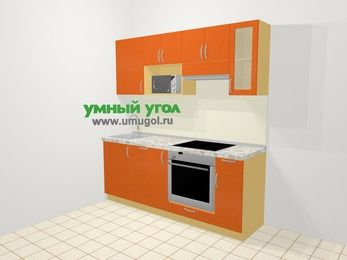 Прямая кухня МДФ металлик в современном стиле 5,0 м², 200 см (зеркальный проект), Оранжевый металлик, верхние модули 72 см, посудомоечная машина, модуль под свч, встроенный духовой шкаф