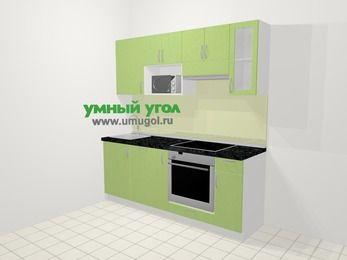 Прямая кухня МДФ металлик в современном стиле 5,0 м², 200 см (зеркальный проект), Салатовый металлик, верхние модули 72 см, посудомоечная машина, модуль под свч, встроенный духовой шкаф