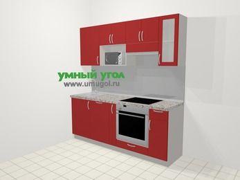 Прямая кухня МДФ глянец в современном стиле 5,0 м², 200 см (зеркальный проект), Красный, верхние модули 72 см, посудомоечная машина, модуль под свч, встроенный духовой шкаф