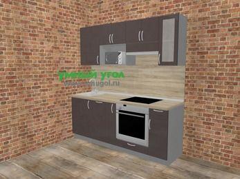 Прямая кухня МДФ глянец в стиле лофт 5,0 м², 200 см (зеркальный проект), Шоколад, верхние модули 72 см, посудомоечная машина, модуль под свч, встроенный духовой шкаф