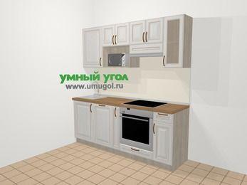 Прямая кухня МДФ патина в классическом стиле 5,0 м², 200 см (зеркальный проект), Лиственница белая, верхние модули 72 см, посудомоечная машина, модуль под свч, встроенный духовой шкаф