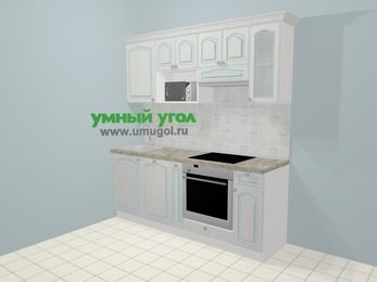 Прямая кухня МДФ патина в стиле прованс 5,0 м², 200 см (зеркальный проект), Лиственница белая, верхние модули 72 см, посудомоечная машина, модуль под свч, встроенный духовой шкаф