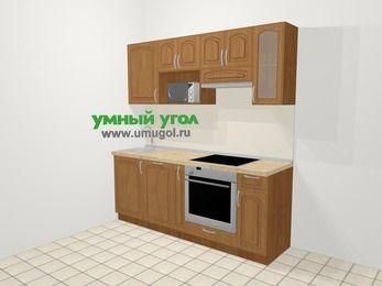 Прямая кухня МДФ патина в классическом стиле 5,0 м², 200 см (зеркальный проект), Ольха, верхние модули 72 см, посудомоечная машина, модуль под свч, встроенный духовой шкаф