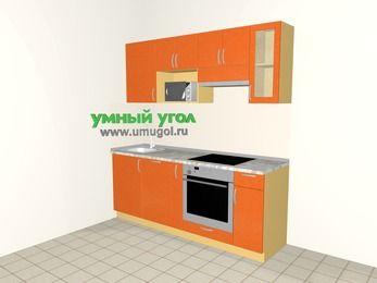 Прямая кухня МДФ металлик 5,0 м², 2000 мм (зеркальный проект), Оранжевый металлик, верхние модули 720 мм, посудомоечная машина, модуль под свч, встроенный духовой шкаф