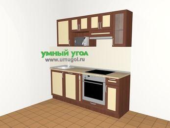 Прямая кухня из рамочного МДФ 5,0 м², 2000 мм (зеркальный проект), Вишня темная / Крем, верхние модули 720 мм, посудомоечная машина, модуль под свч, встроенный духовой шкаф