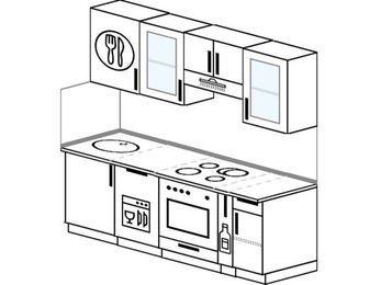 Планировка прямой кухни 5,0 м², 2000 мм (зеркальный проект): верхние модули 720 мм, посудомоечная машина, встроенный духовой шкаф, корзина-бутылочница