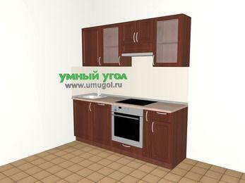 Прямая кухня МДФ матовый 5,0 м², 2000 мм (зеркальный проект), Вишня темная: верхние модули 720 мм, посудомоечная машина, встроенный духовой шкаф, корзина-бутылочница