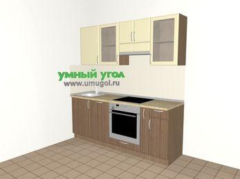Прямая кухня МДФ матовый 5,0 м², 2000 мм (зеркальный проект), Ваниль / Лиственница бронзовая, верхние модули 720 мм, посудомоечная машина, встроенный духовой шкаф