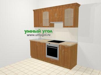 Прямая кухня МДФ матовый в классическом стиле 5,0 м², 200 см (зеркальный проект), Вишня: верхние модули 72 см, посудомоечная машина, встроенный духовой шкаф, корзина-бутылочница