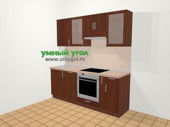 Прямая кухня МДФ матовый в классическом стиле 5,0 м², 200 см (зеркальный проект), Вишня темная: верхние модули 72 см, посудомоечная машина, встроенный духовой шкаф, корзина-бутылочница
