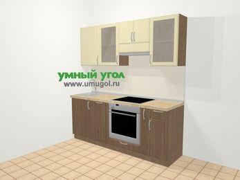 Прямая кухня МДФ матовый в современном стиле 5,0 м², 200 см (зеркальный проект), Ваниль / Лиственница бронзовая: верхние модули 72 см, посудомоечная машина, встроенный духовой шкаф, корзина-бутылочница