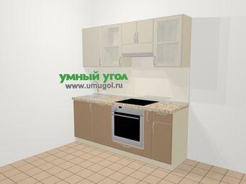 Прямая кухня МДФ матовый в современном стиле 5,0 м², 200 см (зеркальный проект), Керамик / Кофе: верхние модули 72 см, посудомоечная машина, встроенный духовой шкаф, корзина-бутылочница