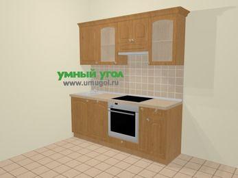 Прямая кухня МДФ матовый в стиле кантри 5,0 м², 200 см (зеркальный проект), Ольха: верхние модули 72 см, посудомоечная машина, встроенный духовой шкаф, корзина-бутылочница