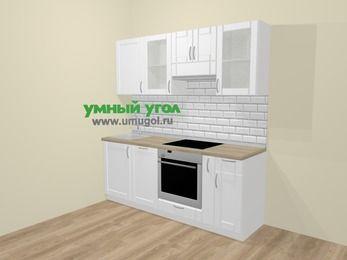Прямая кухня МДФ матовый  в скандинавском стиле 5,0 м², 200 см (зеркальный проект), Белый: верхние модули 72 см, посудомоечная машина, встроенный духовой шкаф, корзина-бутылочница