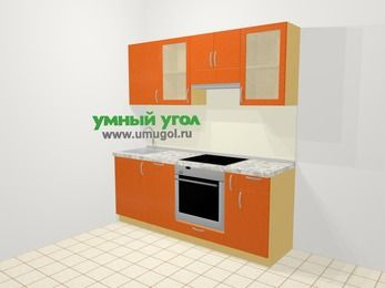Прямая кухня МДФ металлик в современном стиле 5,0 м², 200 см (зеркальный проект), Оранжевый металлик: верхние модули 72 см, посудомоечная машина, встроенный духовой шкаф, корзина-бутылочница