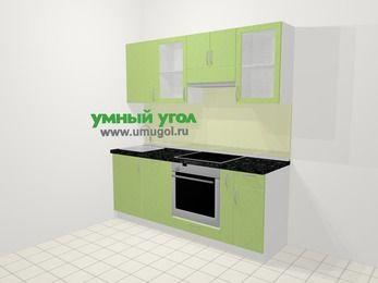 Прямая кухня МДФ металлик в современном стиле 5,0 м², 200 см (зеркальный проект), Салатовый металлик: верхние модули 72 см, посудомоечная машина, встроенный духовой шкаф, корзина-бутылочница