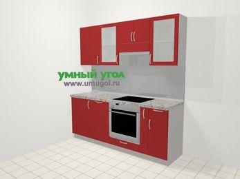 Прямая кухня МДФ глянец в современном стиле 5,0 м², 200 см (зеркальный проект), Красный: верхние модули 72 см, посудомоечная машина, встроенный духовой шкаф, корзина-бутылочница