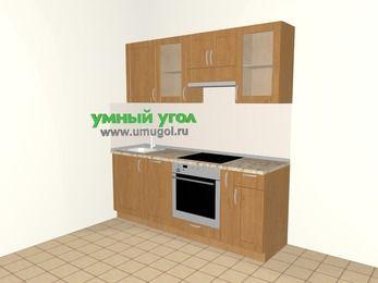 Прямая кухня МДФ матовый 5,0 м², 2000 мм (зеркальный проект), Ольха: верхние модули 720 мм, посудомоечная машина, встроенный духовой шкаф, корзина-бутылочница