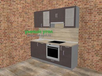 Прямая кухня МДФ глянец в стиле лофт 5,0 м², 200 см (зеркальный проект), Шоколад: верхние модули 72 см, посудомоечная машина, встроенный духовой шкаф, корзина-бутылочница