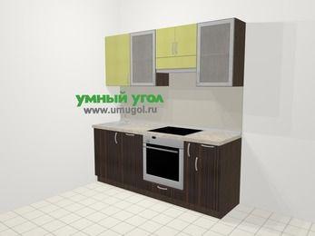 Кухни из пластика в современном стиле 5,0 м², 200 см (зеркальный проект), Желтый Галлион глянец / Дерево Мокка: верхние модули 72 см, посудомоечная машина, встроенный духовой шкаф, корзина-бутылочница