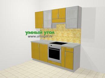 Кухни из пластика в современном стиле 5,0 м², 200 см (зеркальный проект), Желтый глянец: верхние модули 72 см, посудомоечная машина, встроенный духовой шкаф, корзина-бутылочница