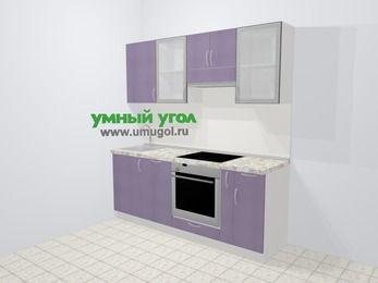Кухни из пластика в современном стиле 5,0 м², 200 см (зеркальный проект), Сиреневый глянец: верхние модули 72 см, посудомоечная машина, встроенный духовой шкаф, корзина-бутылочница