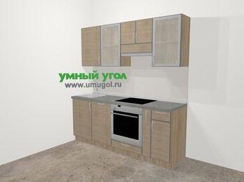 Кухни из пластика в стиле лофт 5,0 м², 200 см (зеркальный проект), Чибли бежевый: верхние модули 72 см, посудомоечная машина, встроенный духовой шкаф, корзина-бутылочница