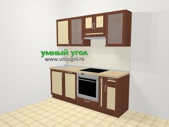 Прямая кухня из рамочного МДФ 5,0 м², 200 см (зеркальный проект), Вишня темная / Крем: верхние модули 72 см, посудомоечная машина, встроенный духовой шкаф, корзина-бутылочница