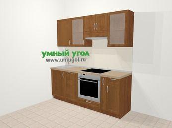 Прямая кухня из рамочного МДФ 5,0 м², 200 см (зеркальный проект), Орех: верхние модули 72 см, посудомоечная машина, встроенный духовой шкаф, корзина-бутылочница