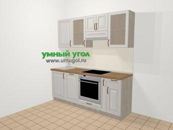 Прямая кухня МДФ патина в классическом стиле 5,0 м², 200 см (зеркальный проект), Лиственница белая: верхние модули 72 см, посудомоечная машина, встроенный духовой шкаф, корзина-бутылочница