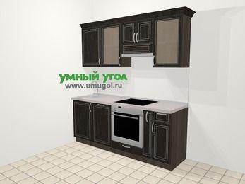 Прямая кухня МДФ патина в классическом стиле 5,0 м², 200 см (зеркальный проект), Венге: верхние модули 72 см, посудомоечная машина, встроенный духовой шкаф, корзина-бутылочница