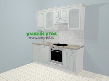 Прямая кухня МДФ патина в стиле прованс 5,0 м², 200 см (зеркальный проект), Лиственница белая: верхние модули 72 см, посудомоечная машина, встроенный духовой шкаф, корзина-бутылочница