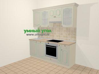 Прямая кухня МДФ патина в стиле прованс 5,0 м², 200 см (зеркальный проект), Керамик: верхние модули 72 см, посудомоечная машина, встроенный духовой шкаф, корзина-бутылочница