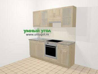 Прямая кухня из массива дерева в классическом стиле 5,0 м², 200 см (зеркальный проект), Светло-коричневые оттенки: верхние модули 72 см, посудомоечная машина, встроенный духовой шкаф, корзина-бутылочница