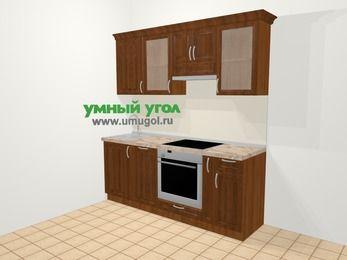 Прямая кухня из массива дерева в классическом стиле 5,0 м², 200 см (зеркальный проект), Темно-коричневые оттенки: верхние модули 72 см, посудомоечная машина, встроенный духовой шкаф, корзина-бутылочница