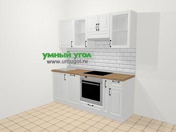 Прямая кухня из массива дерева в скандинавском стиле 5,0 м², 200 см (зеркальный проект), Белые оттенки: верхние модули 72 см, посудомоечная машина, встроенный духовой шкаф, корзина-бутылочница