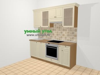 Прямая кухня из массива дерева в стиле кантри 5,0 м², 200 см (зеркальный проект), Бежевые оттенки: верхние модули 72 см, посудомоечная машина, встроенный духовой шкаф, корзина-бутылочница