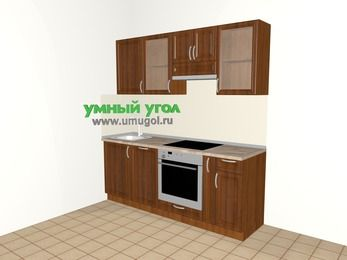 Прямая кухня из массива дерева 5,0 м², 2000 мм (зеркальный проект), Темно-коричневые оттенки: верхние модули 720 мм, посудомоечная машина, встроенный духовой шкаф, корзина-бутылочница